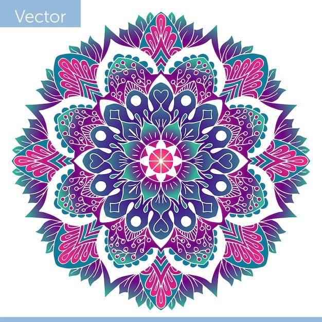 Mandala Décoratif Coloré. Modèle Oriental Vecteur Premium