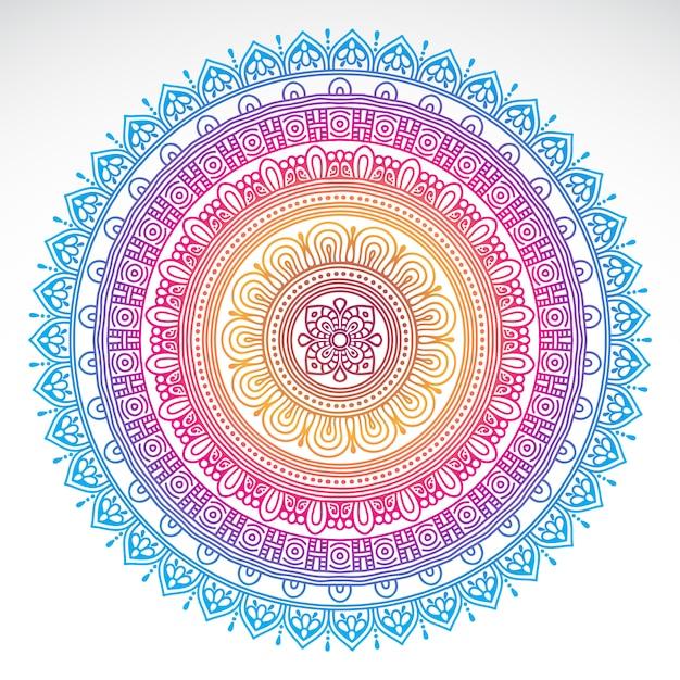Mandala dégradé rond sur fond isolé blanc Vecteur gratuit