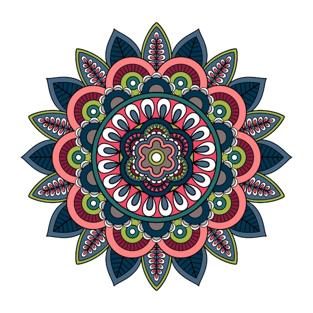 Mandala dessiné à la main avec l'islam Vecteur Premium