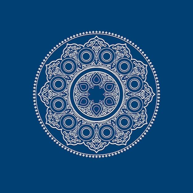 Mandala ethnique blanc délicat - motif d'ornement rond Vecteur Premium