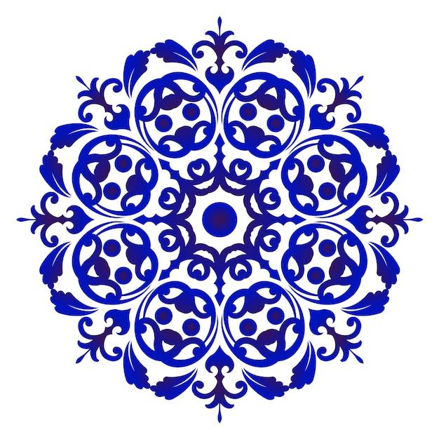 Mandala fleur de porcelaine Vecteur Premium