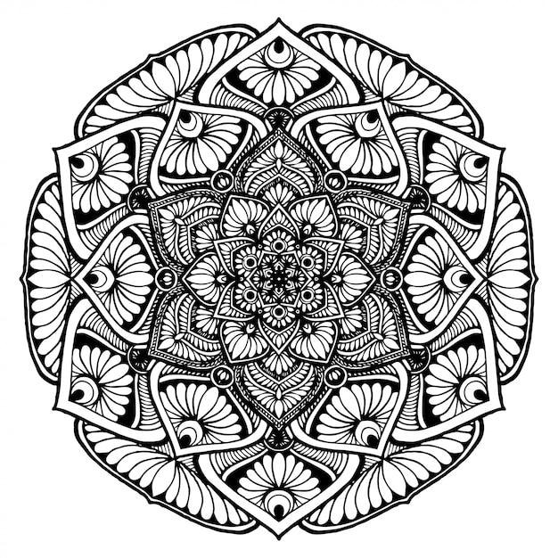 Mandala Fleur Rond Pour Tatouage Henne Livre De Coloriage Decoratif Vecteur Premium
