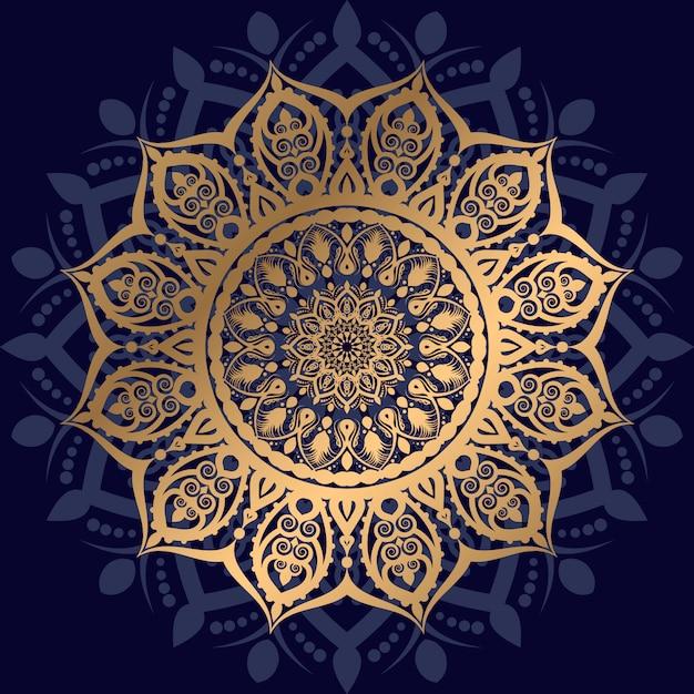 Mandala de luxe avec motif arabesque doré style oriental islamique arabe Vecteur Premium