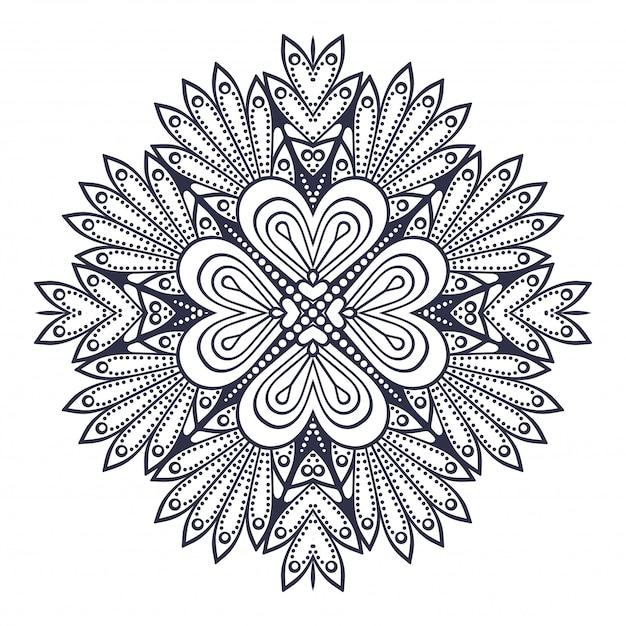 Mandala. Motif D'ornement Rond. éléments Décoratifs Vintage Vecteur Premium