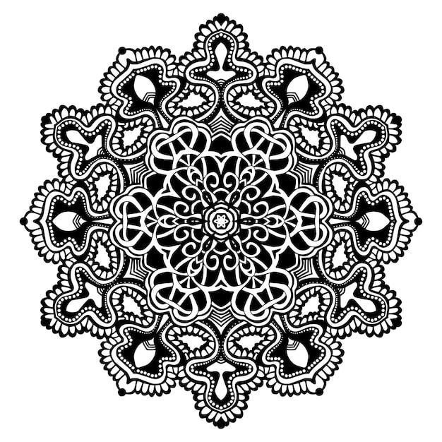 Mandala noir et blanc Vecteur Premium