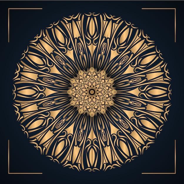 Mandala Ornemental De Luxe Avec Couleur Or Vecteur Premium