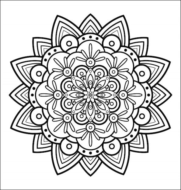 Coloriage Fleur.Mandala Pour Cahier De Coloriage Fleur Abstraite Ornement Rond