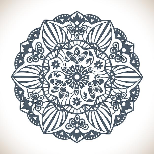 Mandala Rond Monochrome Vecteur gratuit