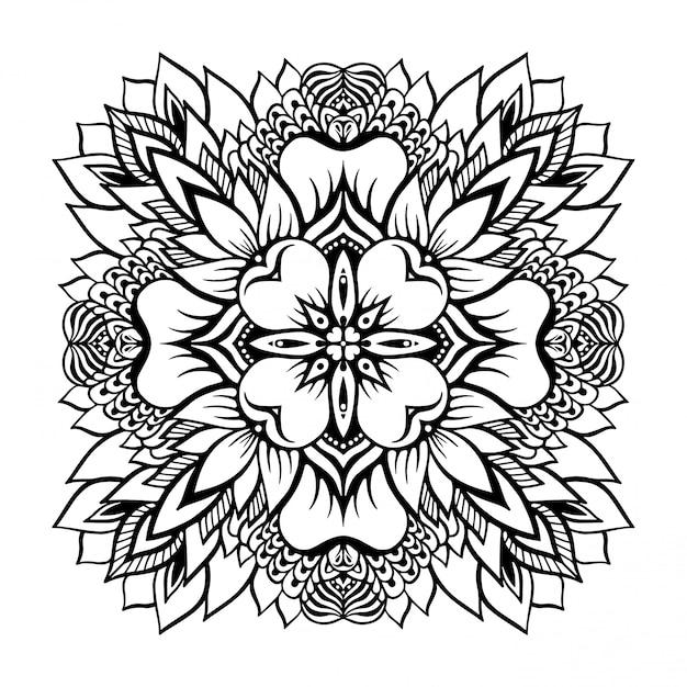 Mandala tropical monochrome avec une fleur de lotus au centre. Vecteur Premium