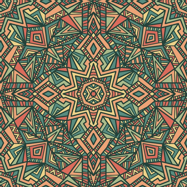 Mandala vecteur de fond sans couture. ornement tribal. Vecteur Premium