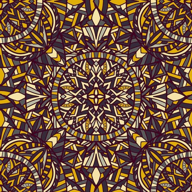 Mandala vecteur de fond sans couture. ornement tribal. Vecteur Premium