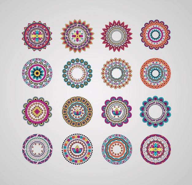 Mandalas Décoratifs De Collection Floral Bohème Vecteur gratuit