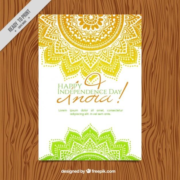 Mandalas dessinés à la main indépendance inde invitation jour Vecteur gratuit