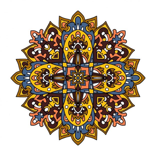 Mandalas De Fleurs. éléments Décoratifs Vintage. Vecteur Premium