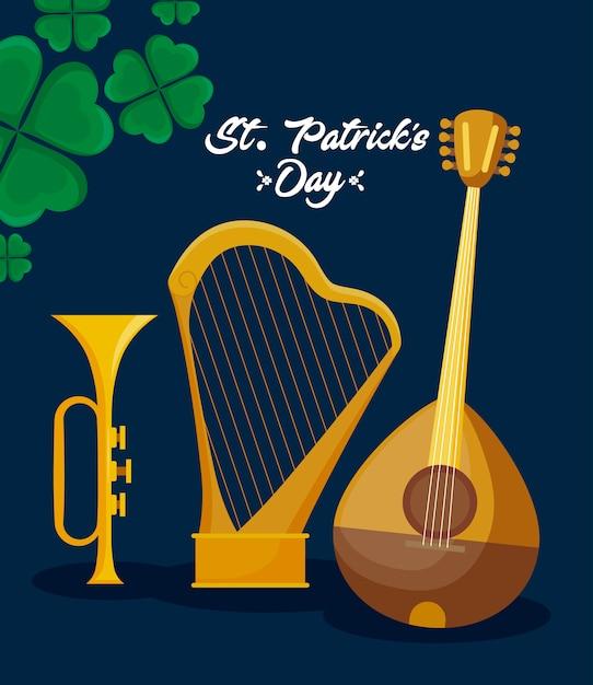 Mandoline à la harpe et atout de st patrick Vecteur Premium