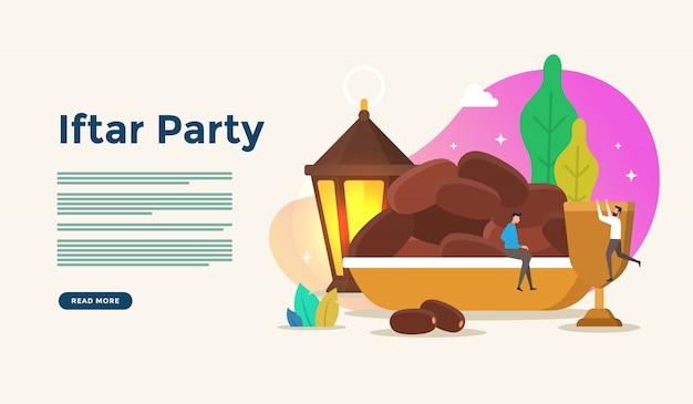 Manger ensemble après le jeûne de la fête iftar. dîner de famille musulman sur ramadan kareem ou eid célébrant avec le concept de caractère de personnes pour le modèle de page de destination web Vecteur Premium