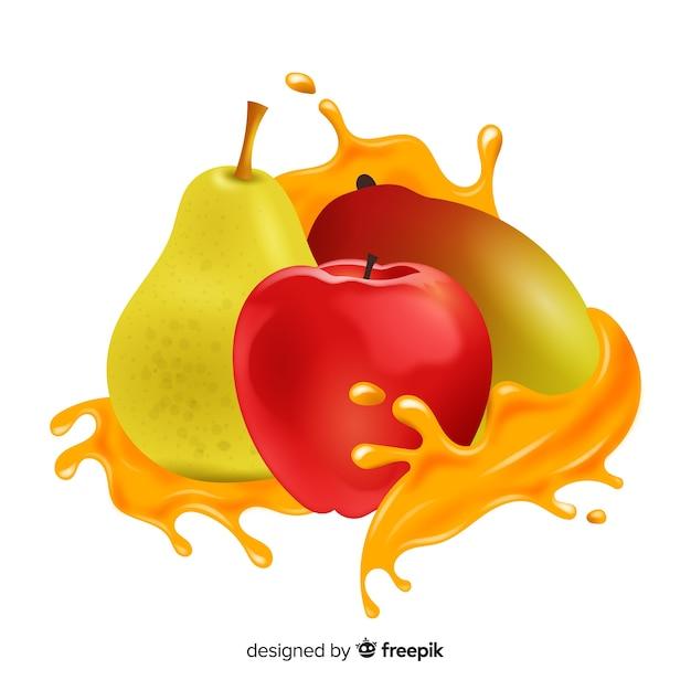Mangue réaliste avec des fruits tropicaux Vecteur gratuit