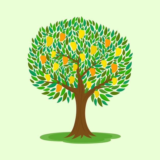 Manguier Avec Illustration Design Plat De Fruits Vecteur gratuit