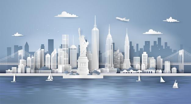 Manhattan, new york avec des gratte-ciels urbains, Vecteur Premium