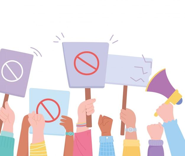 Manifestation Des Militants De Protestation, Mains Levées Tenant Un Panneau D'interdiction Et Une Illustration De Mégaphone Vecteur Premium