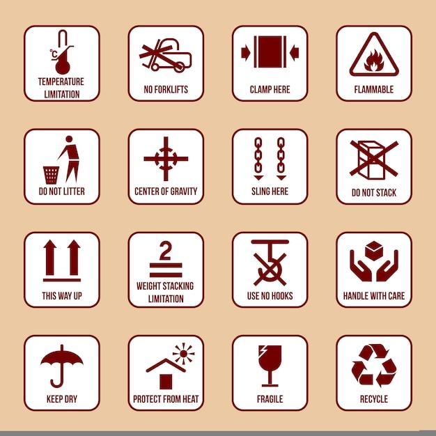 Manipulation Et Emballage Des Icônes Définies Avec Une Limite De Température Inflammable Aucun Symbole De Pile Vector Illustration Vecteur Premium