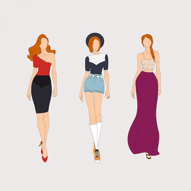 Mannequins Dessinés à La Main. Concept D'illustration. Vecteur Premium