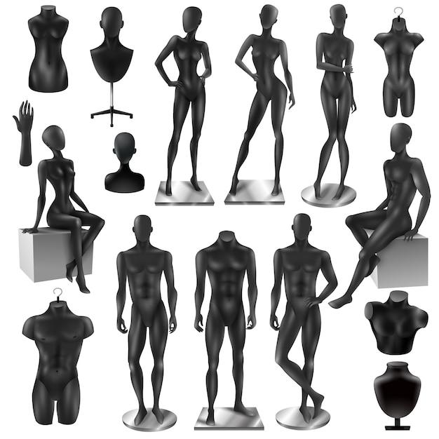 Mannequins hommes femmes realisyic black set Vecteur gratuit