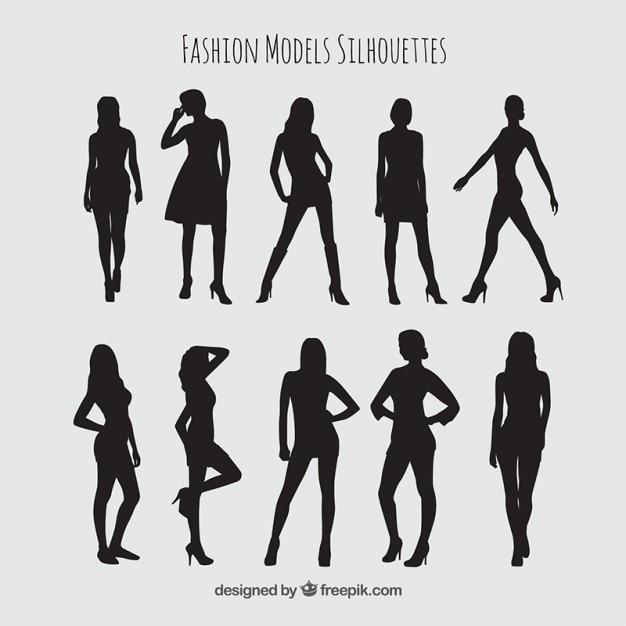 Mannequins silhouettes set Vecteur gratuit