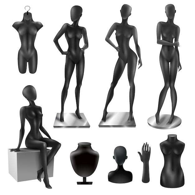 Mannequins women realistic black image set Vecteur gratuit