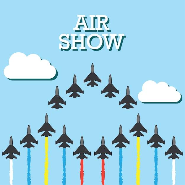 Manœuvres d'un avion de combat dans le ciel bleu pour la bannière de spectacle aérien. illustration vectorielle Vecteur gratuit