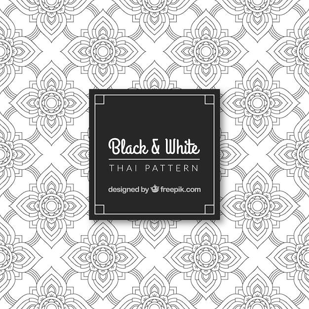 Manque et blanc motif thaïlandais avec un design élégant Vecteur gratuit