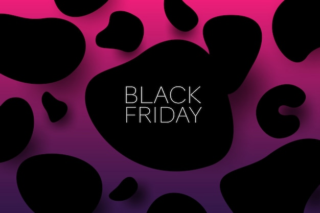 Manque vendredi vente 3d bannière illustration vectorielle avec objets de forme organique noir. concept de promotion des ventes. Vecteur Premium