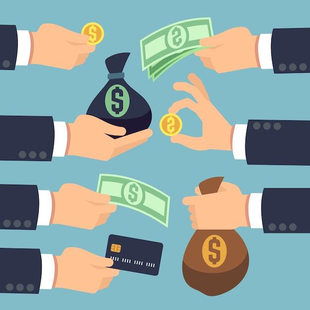 Mans main tenant en espèces, pièces de monnaie, billets de banque et carte de crédit isolé. payer et gagner des icônes vectorielles ensemble. money finance acheter et paiement, dollar en espèces et illustration de sac d'argent Vecteur Premium