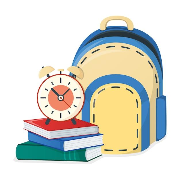 Manuel, Livre D'école Et Sac à Dos, Alarme Vecteur Premium