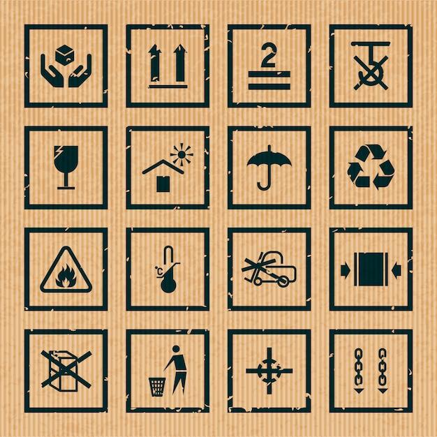 Manutention Et Emballage Des Icônes En Carton Symboles Noirs Mis Illustration Vectorielle Isolé Vecteur Premium