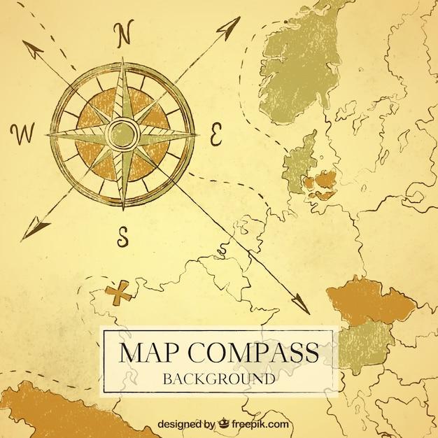 Map background de la boussole Vecteur gratuit