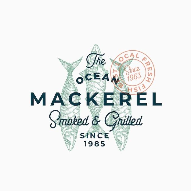 Maquereau De Mer Fumé Et Grillé. Modèle Abstrait De Signe, De Symbole Ou De Logo. Vecteur gratuit