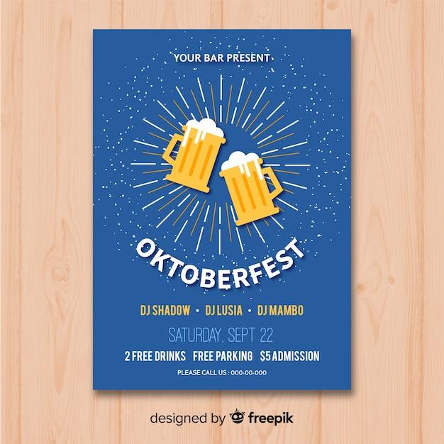 Maquette affiche oktoberfest au design plat Vecteur gratuit