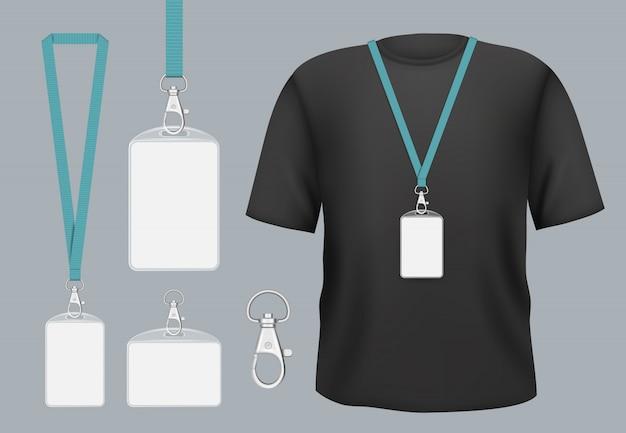 Maquette De Badges. Badges Professionnels D'accès Aux Balises De Présentation Avec Nom Personnel Ou Modèle D'identification Vecteur Premium
