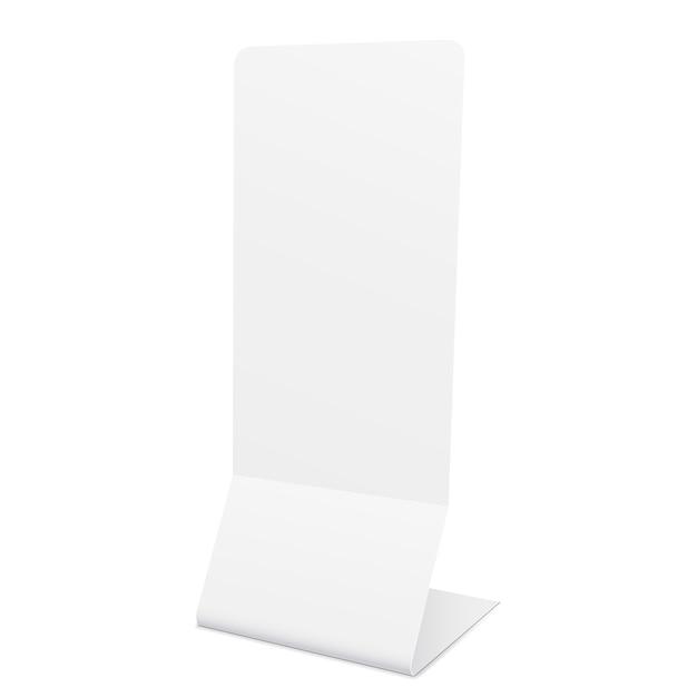 Maquette de bannière de stand vide isolé sur blanc - vue de côté. Vecteur Premium