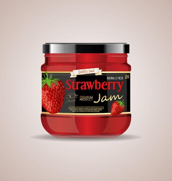 Maquette de bocal en verre strawberry jam package design Vecteur Premium