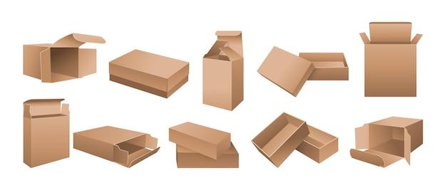 Maquette De Boîte Ensemble De Carton Réaliste Emballage En Papier Ouvert, Fermé, Conception Ou Marque Modèle Boîtes D'emballage De Produit Réaliste Vecteur Premium