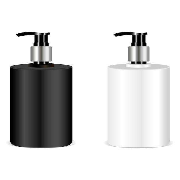 Maquette de bouteille de savon noir et blanc. vecteur Vecteur Premium