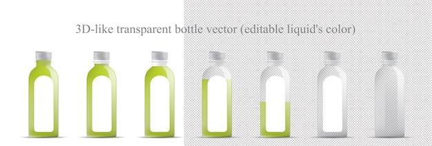Maquette de bouteille transparente (verre, plastique) Vecteur Premium