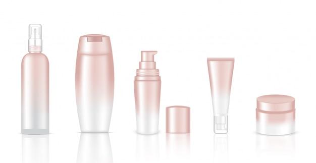 Maquette de bouteilles cosmétiques blanches réalistes Vecteur Premium