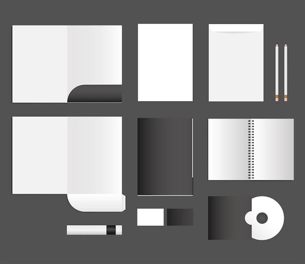 Maquette De Cahier De Fichiers Cd Et Enveloppes Conception Du Modèle D'identité D'entreprise Et Du Thème De Marque Vecteur Premium