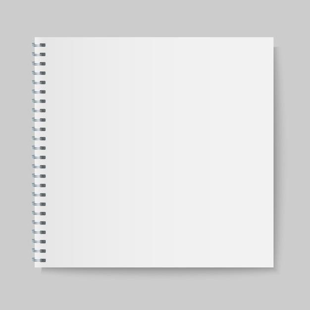 Maquette cahier à spirale réaliste, couverture de cahier de modèle. Vecteur Premium