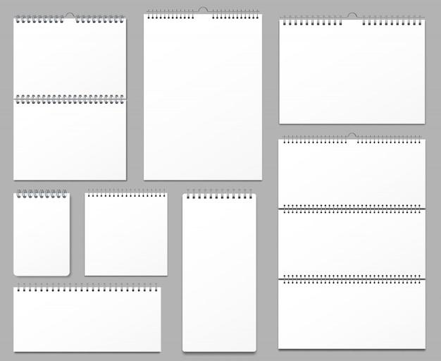 Maquette De Calendrier. Calendriers Muraux Liés Sur Une Spirale Métallique, Page De Notes Suspendues Et Pages De Cahier Ensemble D'illustration Réaliste 3d Vecteur Premium