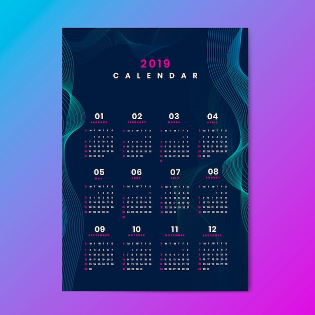 Maquette de calendrier de conception de contour Vecteur gratuit