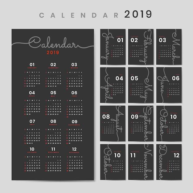 Maquette de calendrier de conception cursive Vecteur gratuit